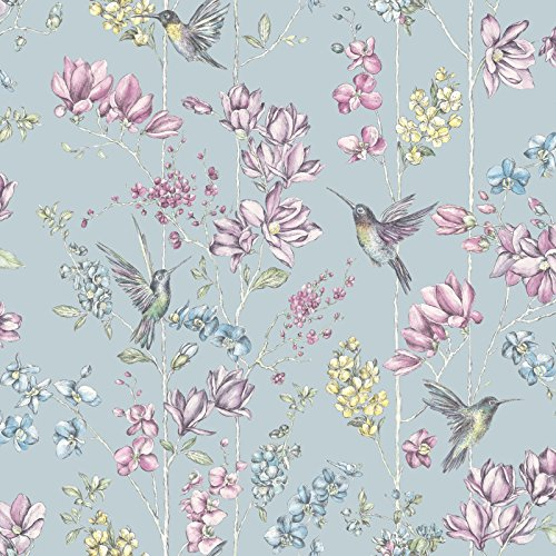 (Holden Floral Charm Hummingbird Wallpaper - Duck Egg)