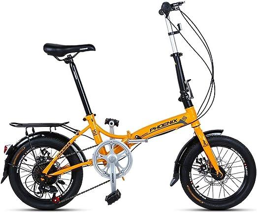 Paseo Bicicleta Plegable De 16 Pulgadas Hombres Y Mujeres Modelos Ligero Bicicleta Plegable Bicicleta Adulto Mini Velocidad Coche Doble Disco Freno Bicicleta Plegable: Amazon.es: Hogar