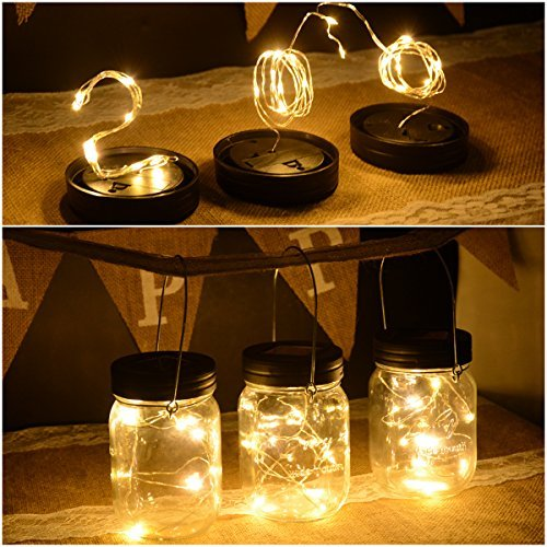 Abkshine 3 Pack Solar Mason Jar Light Lid Insert, 10 LED Warm White Solar Powered Table Deck Lamp LED Firefly Fairy Lights for Wedding Christmas Holiday Party Decor(Jars Not Included) ()