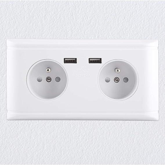 KSTE Multi-Fonctionnelle UE Prise Murale Prise de Courant Prise avec Double Port USB for Chargeur de t/él/éphone 250V