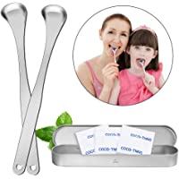 Tongue Scraper Stainless Steel, 3Pcs Tongue Cleaner for Fresh Breath, Surgical Stainless Steel Tongue Scraping Brush for Plaque and Bacteria Removal Oral Care, with Travel Carry Case