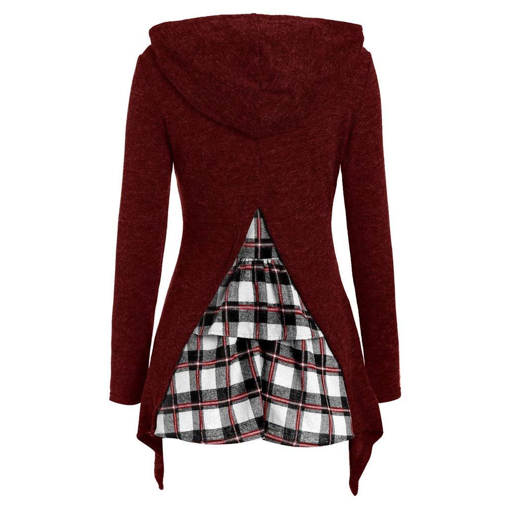 Lawzl Women Long Sleeve Hooded Back Plaid Patchwork Irregular Sweatshirt Top Pullover