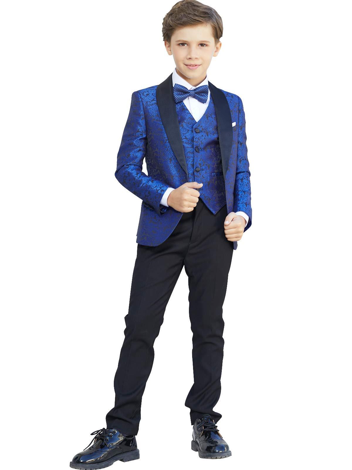 Boys Suits Slim Fit Kids Jacquard Suits Boy's Royal Blue Formal Dress Suit Set 2-20
