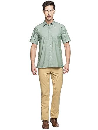 69ccfbd817e89 CottonWorld Men's 100% Cotton Green Regular FIT Shirts: Amazon.in ...