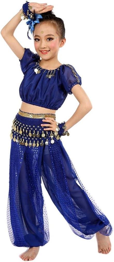 OverDose Ragazze Costumi da Danza del Ventre Pantalonis Fatto a Mano Egitto Danza Maniche Corte Top
