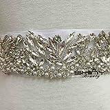 ShinyBeauty Rhinestone Applique with Pearls for Bridal Sash, ONE Yard Rhinestone Trim,wedding Belt,
