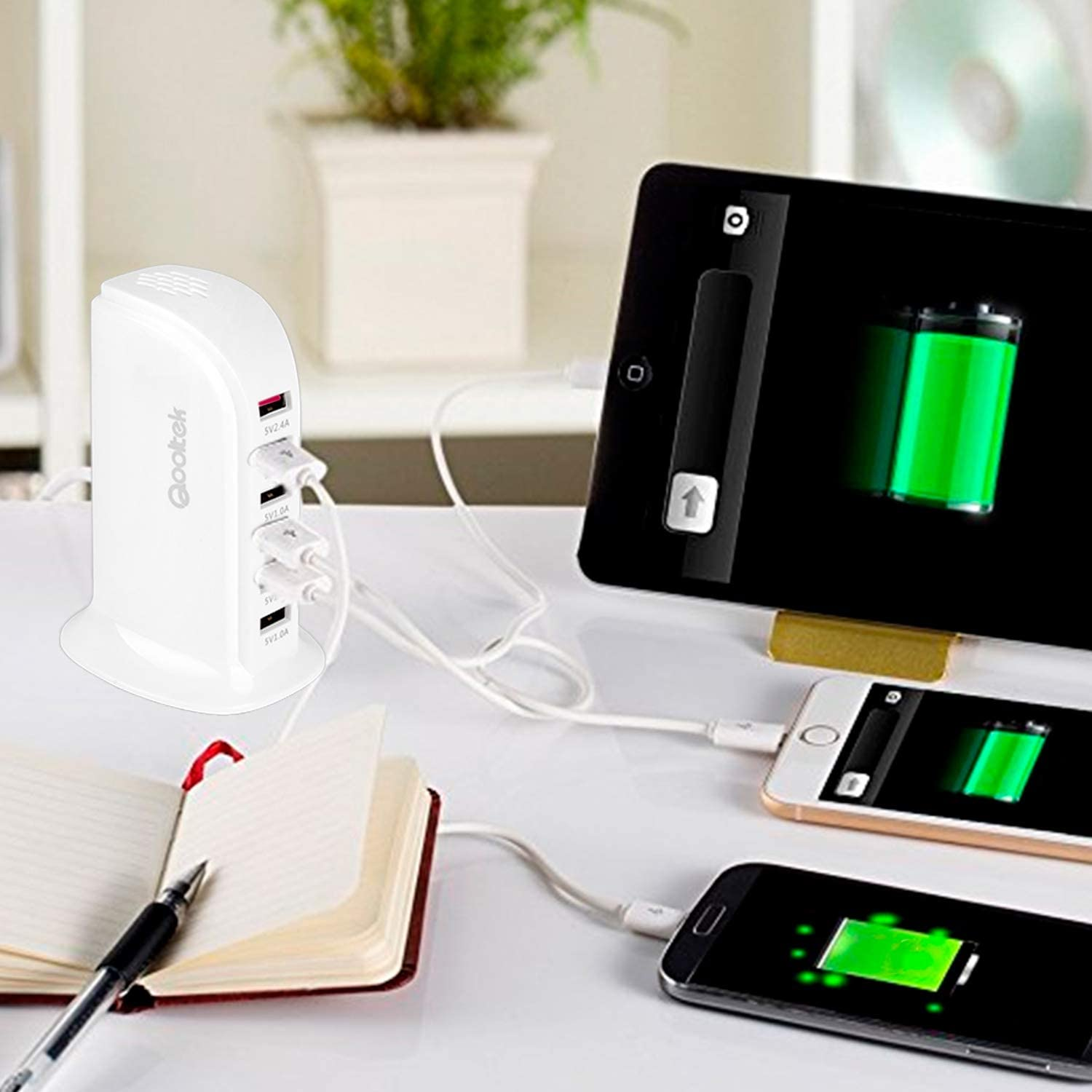 iPhone//7//6s//Plus White Qooltek 30W 6 Port USB Charger Tower Portable USB Charging Station Desktop Wall Charger for iPhone 8 iPhone X iPad Galaxy S7//S6//Edge