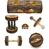 Bojafa 5 Pcs Natural Wooden Playing Chewing Toys for Small Animal Hamster Gerbil Mouse - Tunnel, Ball, Bell Roller, Dumbbell, Unicycle for Small Animals Molar Teeth Clean Toys