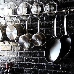 Lyon Stainless Steel Gourmet Kitchen 47.25 Inch Wall Mount Rail and 10 S Hooks Set Utensil Pot Pan Lid Rack Storage Organizer , Silver