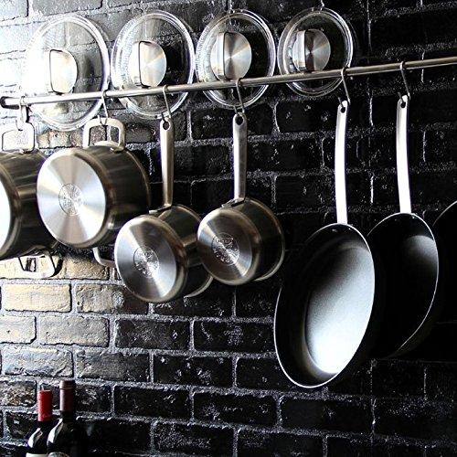 Lyon Stainless Steel Gourmet Kitchen 47.25 Inch Wall Mount Rail and 10 S Hooks Set Utensil Pot Pan Lid Rack Storage