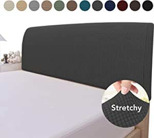 Easy-Going Stretch Bed Headboard Cover,Small Square Jacquard Headboard Slipcover, Dustproof Bed Head Cover for Bedroom (Queen,Dark Gray)