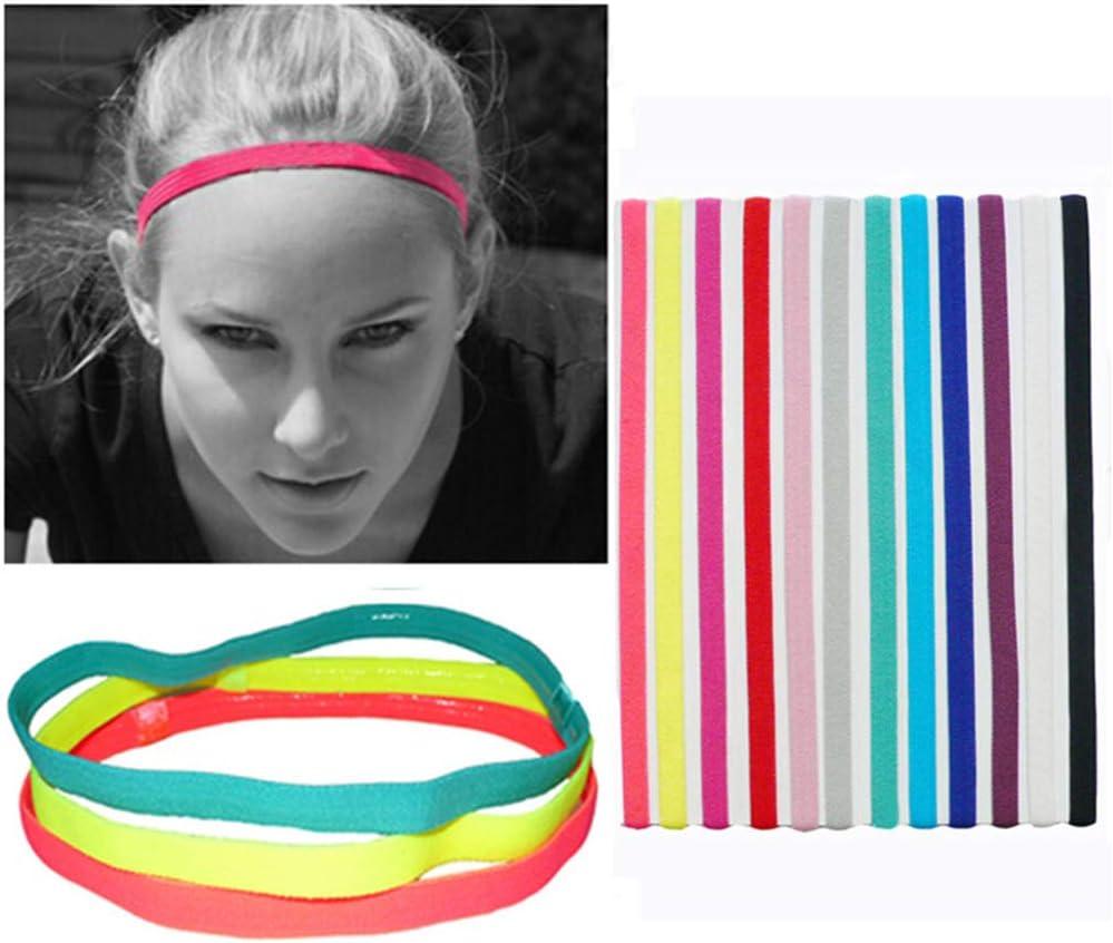 8 St/ück Sport Stirnb/änder Schlanke Elastische Stirnb/änder Anti Rutsch Stirnband f/ür Jogging Fu/ßball Laufen Workout Yoga und Mehr