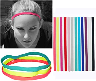 Women Men Anti-slip Yoga Hair Band Sports Headband Elastic Silicone Sweatband