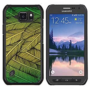 LECELL--Funda protectora / Cubierta / Piel For Samsung Galaxy S6Active Active G890A -- Plumas Verde Naturaleza Arte del árbol del pájaro que vuela --