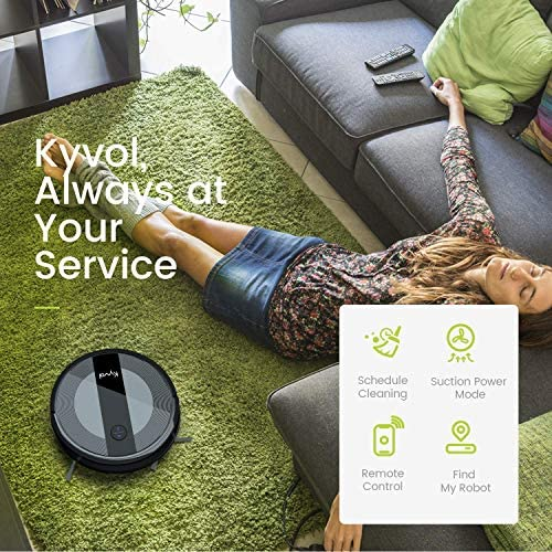 Kyvol Cybovac E20 Robot Vacuum Cleaner, 2000Pa Suction, 150 min Runtime, Boundary Strips Included, Quiet, Super-Thin, Self-Charging, Works with Alexa, Ideal for Pet Hair, Carpets, Hard Floors