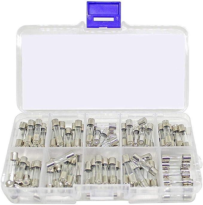 fusibles pour tubes /à t/ête plate de 6 x 30 mm avec bo/îte en plastique Durable et utile Assortiment de fusibles pour tubes en verre /à soufflage rapide