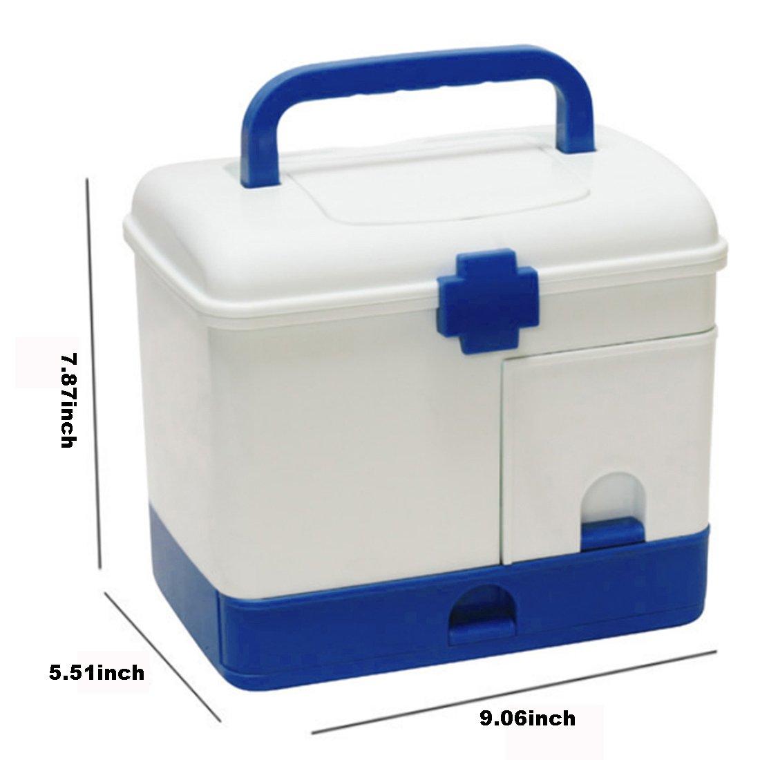 Ovitop Scatola Medica Scatola Multifunzione per la Medicina Domestica Scatola di Immagazzinaggio Medico Soccorso Kit di Pronto Soccorso-Blu