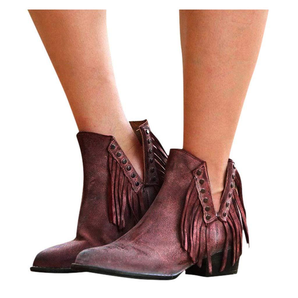 Veodhekai Women Retro Flats Shoes Short Boots Low Heel Roman Shoes Ankle Flat Loafers Flock Casual Lady Cute Purple by Veodhekai
