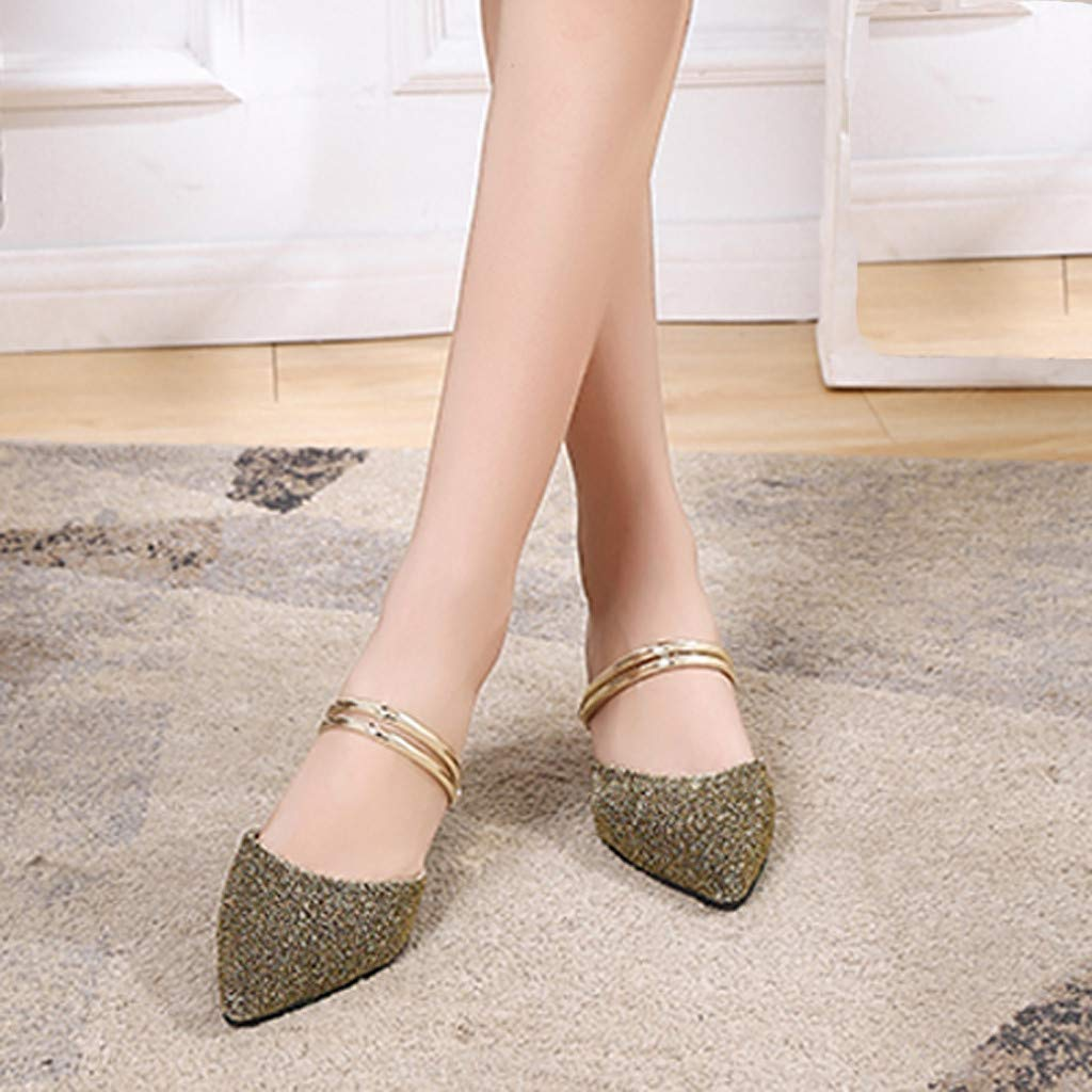 Ladies High Heel Slippers Bestoppen Pointed Toe Sparkly Sequins Shoe Fashion Summer Heel Block Flip Flop Shoes Slip-On Sandals for Women Size 3.5-7.5