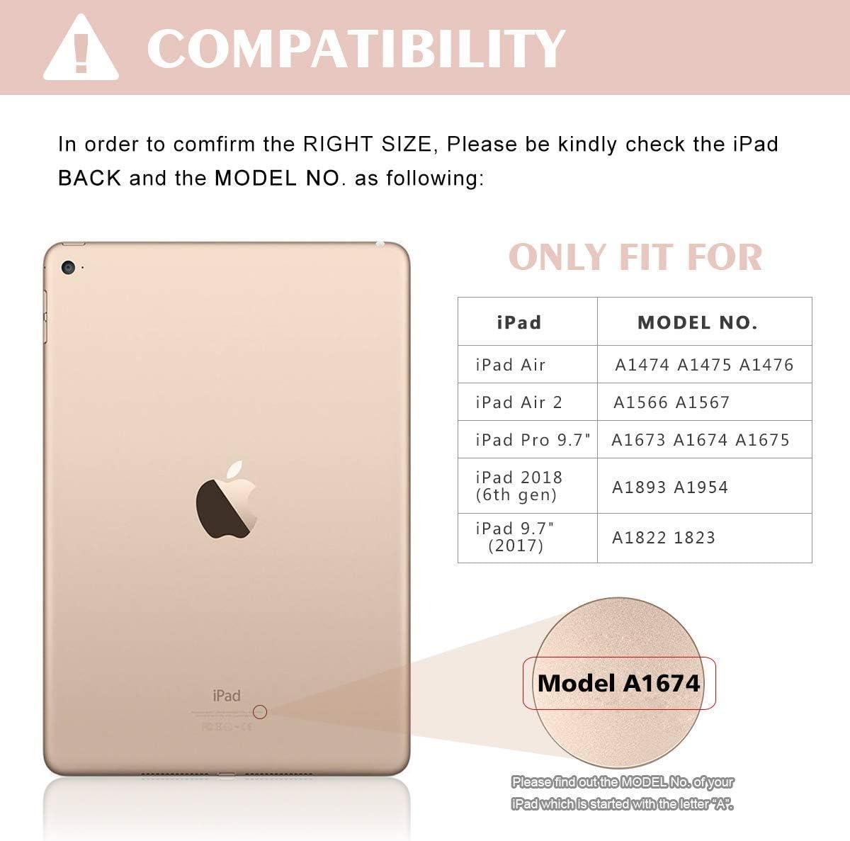 COO Funda Teclado iPad 9.7, Funda iPad 2018 con Ranura para Lápiz y Teclado Español (Incluye Letra Ñ) Bluetooth para iPad 2018/iPad 2017/iPad Pro ...