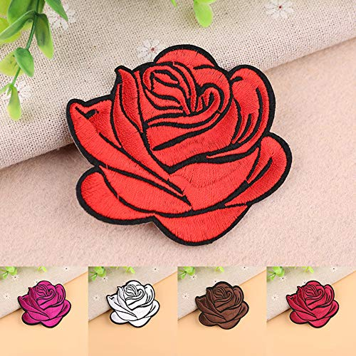 Gyswshh Tablecloth,Rose Badge Iron On Patch Decoration Flower Bag Hat Applique Clothing Accessory Red by Gyswshh (Image #3)