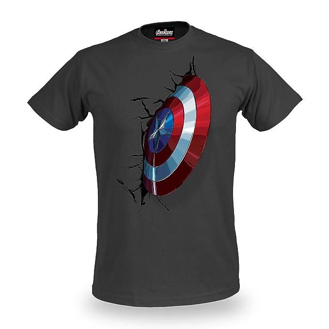 Avengers Vengadores Edad de Ultron Capitán América Camiseta Escudo del Adorno de Licencia de Algodón Gris Marvel 6FkHctz31
