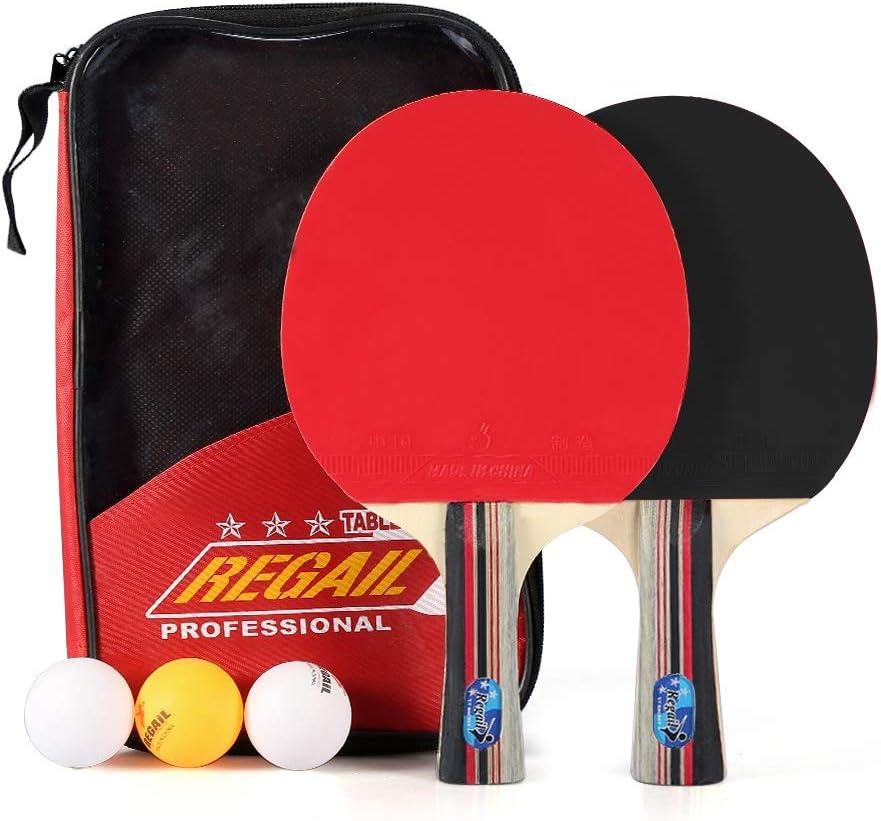 Alomejor Juego de Tenis de Mesa Juego de Tenis de Mesa Paletas de Ping-Pong de Madera con 3 Bolas y Estuche para Actividades Deportivas al Aire Libre en Interiores