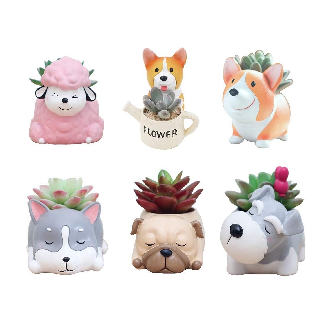 Youfui Home Decor Pot, Succulent Planter Flowerpot Decor for Home Office Desk (6pcs Puppy Pot)