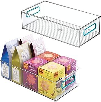mDesign 2er-Set Aufbewahrungsbox mit Griffen hohe K/ühlschrankbox zur Lebensmittelaufbewahrung durchsichtig Ablage aus Kunststoff f/ür den K/üchen- oder K/ühlschrank