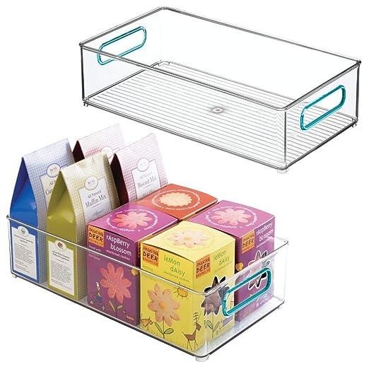 mDesign Juego de 2 cajas organizadoras con asas - Organizador de ...