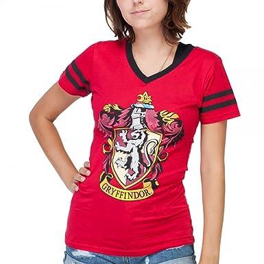 5dc37180f Amazon.com  Harry Potter Gryffindor Crest V-Neck Womens Girls Red T ...