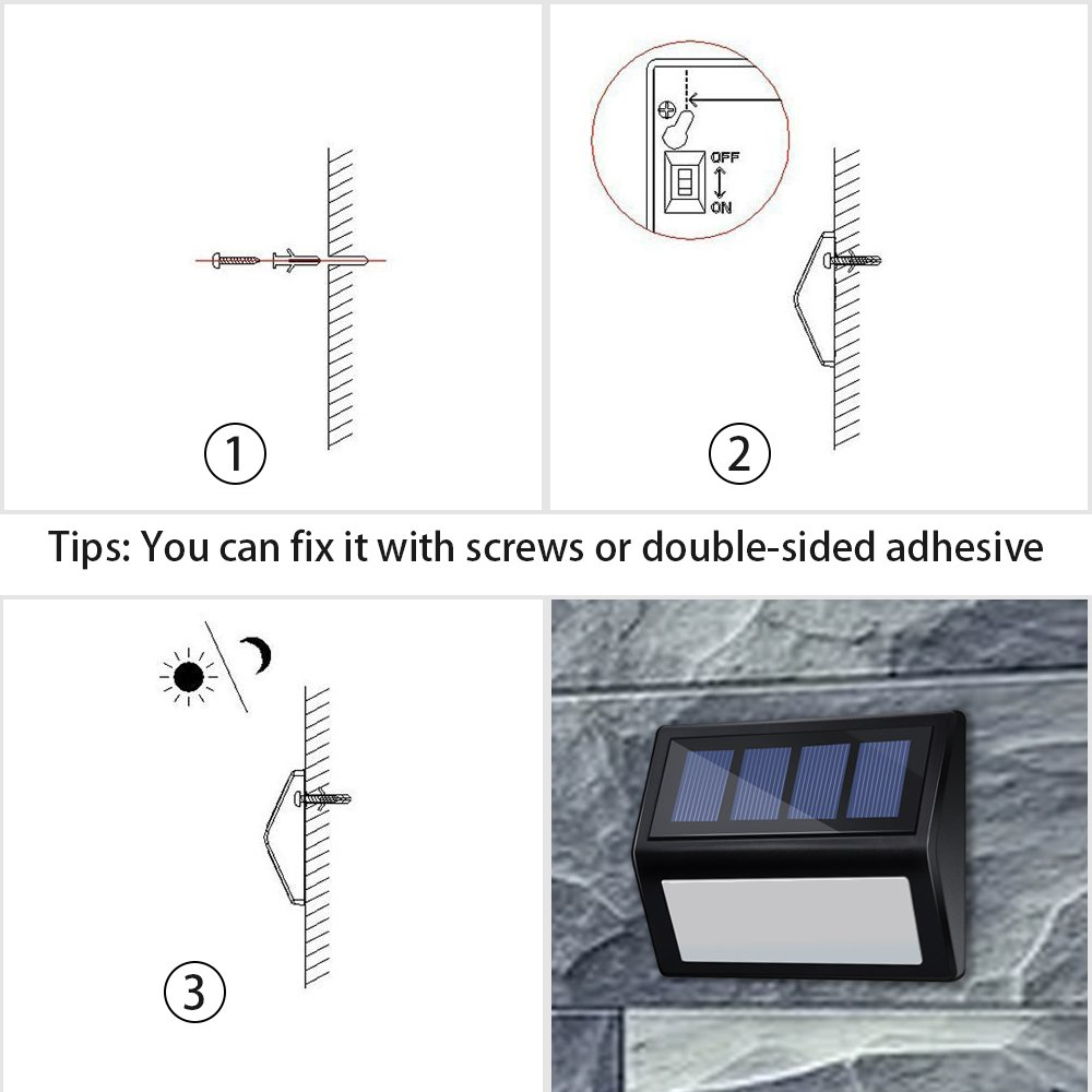 Solar Deck Lights - Sunklly 6 LED Outdoor Waterproof Step Lamp for Garden Walkway Patio Driveway (White Light, Pack of 6)
