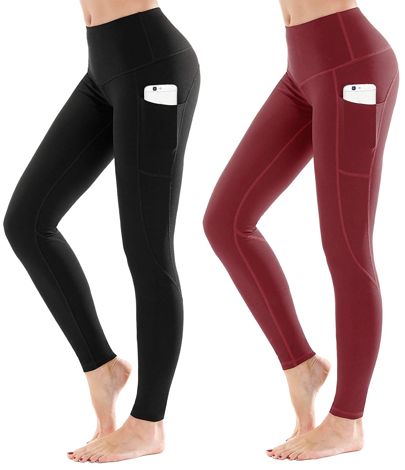 9853 Black + Wine Red LifeSky High Waist Yoga Pants Workout Leggings for Women with Pockets Tummy Control Soft Pants