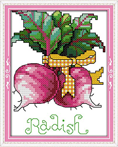 Joy Sunday Cross Stitch Kits,Still Life Style,Radish,14CT Counted, 14cm×17cm or 5.46