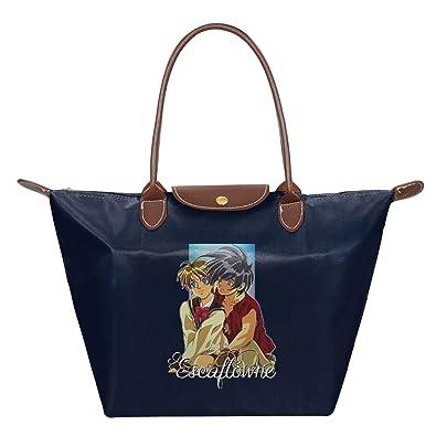 Van Fanel And Hitomi The Vision Of Escaflowne Waterproof Leather Folded Messenger Nylon Bag Travel Tote Hopping Folding School Handbags