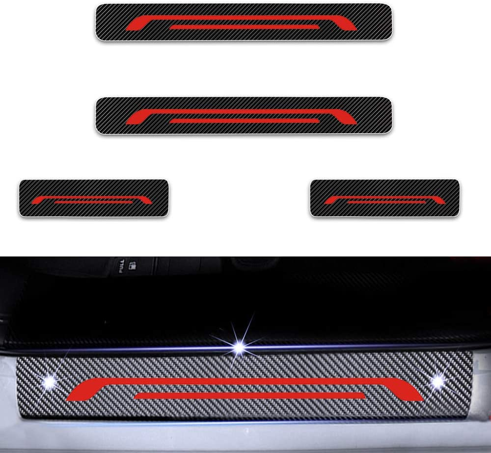 Einstiegsleiste Schutz Aufkleber Reflektierende Lackschutzfolie Für Rio Ceed Gt Sw Pro Cerato Venga Carens Einstiegsleisten Rot 4 Stück Auto