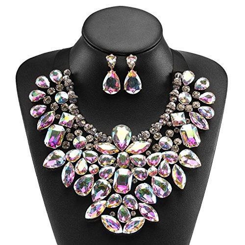 Holylove Crystal Costume Statement Necklace for Women Jewelry Fashion Necklace 1 Set with Gift Box-HLN8455E-Crystal - Drag Queen Outfit