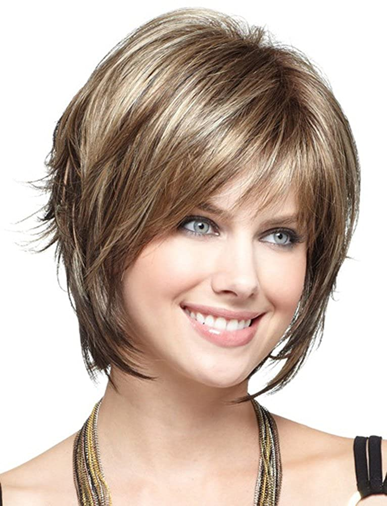 AmorWig Fashion Short Wig Straight Brown Hair Wigs With Bangs For Women