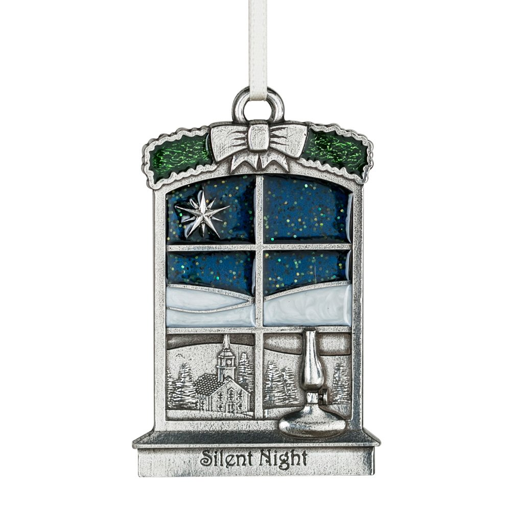 2 3//8 Inches Handcrafted Pewter Silent Night 2018 Annual Ornament Made in USA DANFORTH