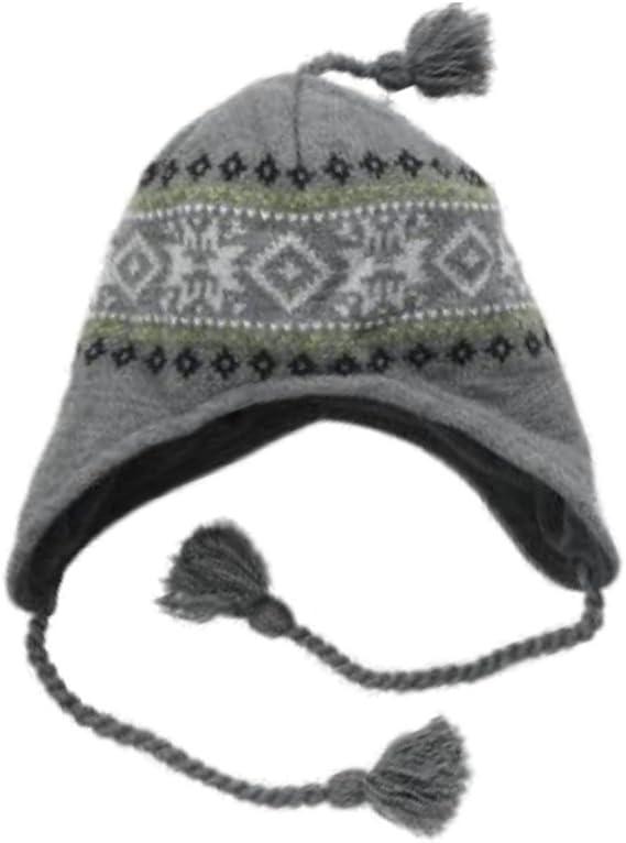 Ben Berger Boys Black /& Red Snowflake Peruvian Beanie Fleece Lined Winter Hat