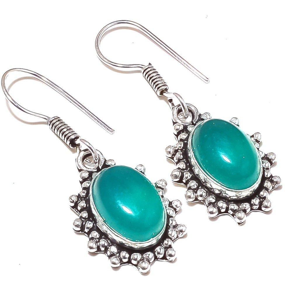 Green Onyx Sterling Silver Overlay 10 Grams Earring 1.5 Long Latest Art Jewellry