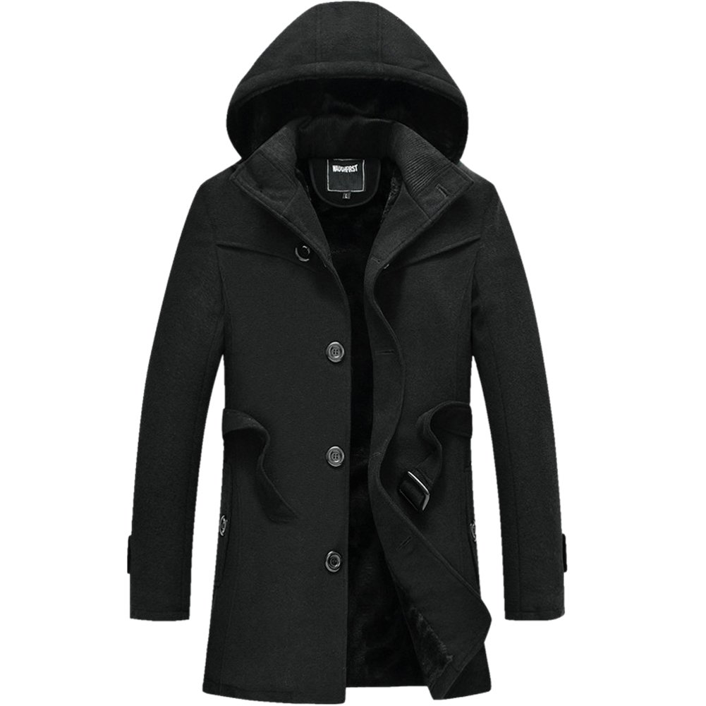 b5cfbe7c1 SZAWSL Mens Winter Thick Warm Hooded Woolen Coat Faux Fur Lined ...