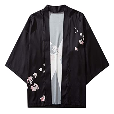 Men's Japan Kimono Cardigan Jacket Japanese Style Lightweight Casual Seven Sleeves Open Front Coat Outwear at Men's Clothing store
