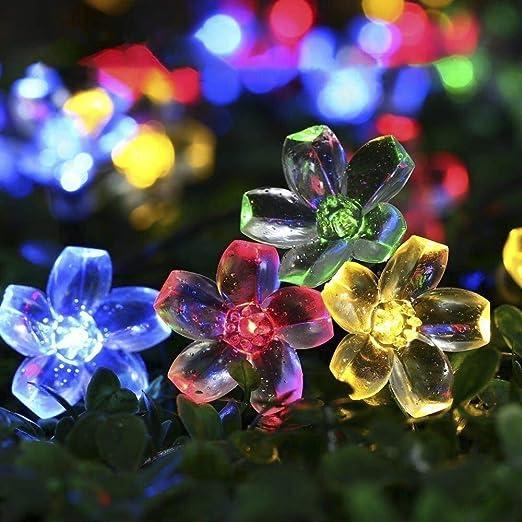 Solar Luz Cadena exterior, trylight 7 m 50 LED flores Luz Cadena ...