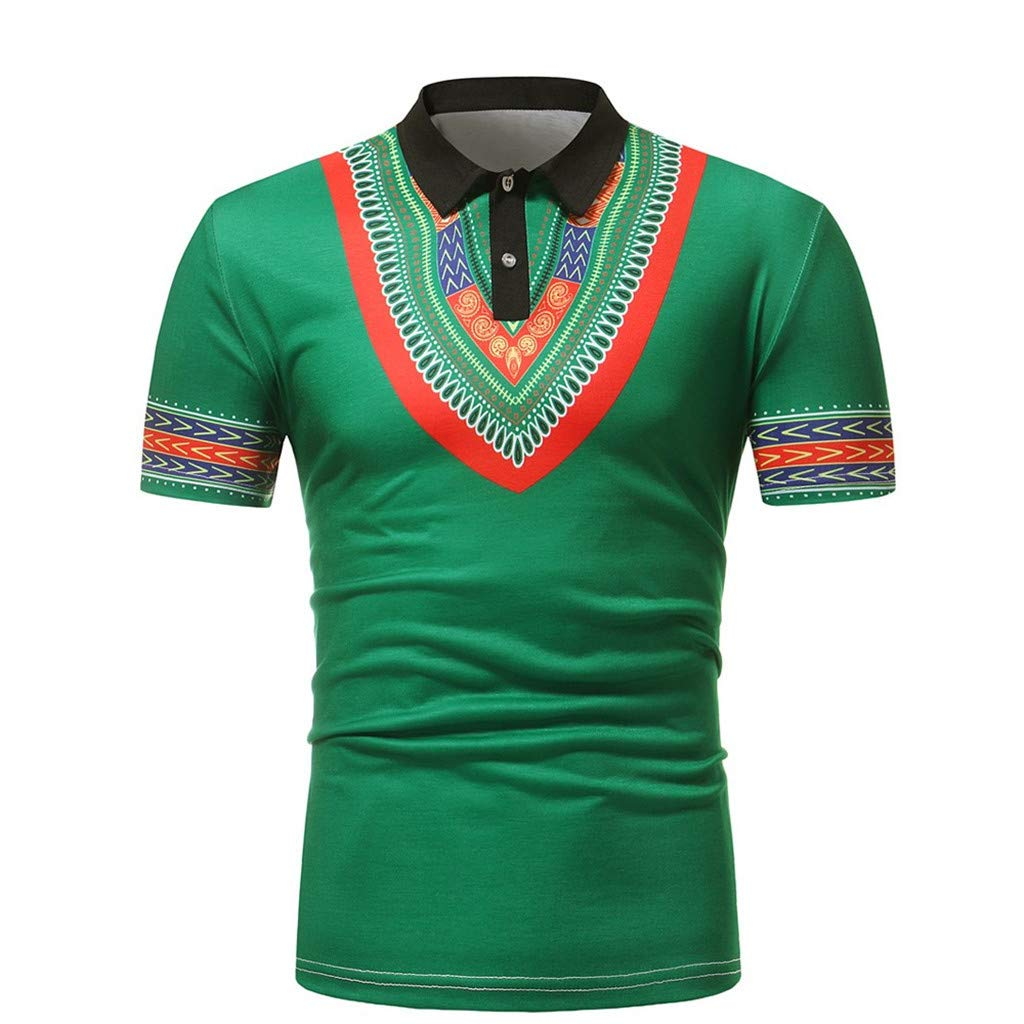 705d23f29d Amazon.com  Men s Polo Shirt African Short Sleeve Lapel Primer Muscle Tee T-Shirt  Casual Tops Blouse  Clothing