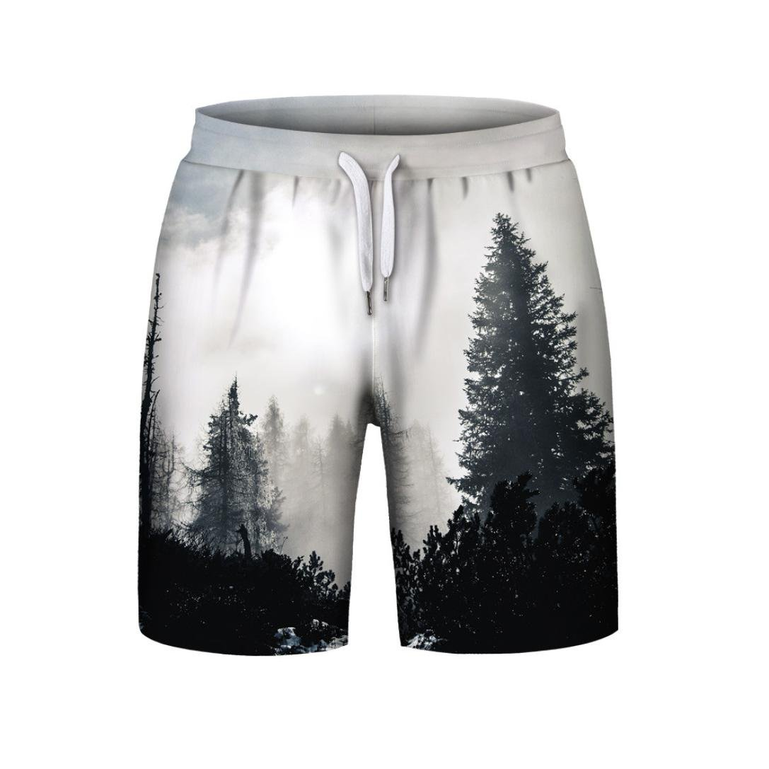 Refreshing summer 2018 New Hot! PASATO Men's Casual Plus Size Pine pattern 3D Printed Beach Shorts Pants(Multicolor, XXL) by PASATO (Image #1)