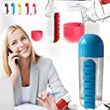 600ml Water Bottle with Daily Pill Box Medicine Vitamin Storage Portable Convenient for Gym Home Office School Travel