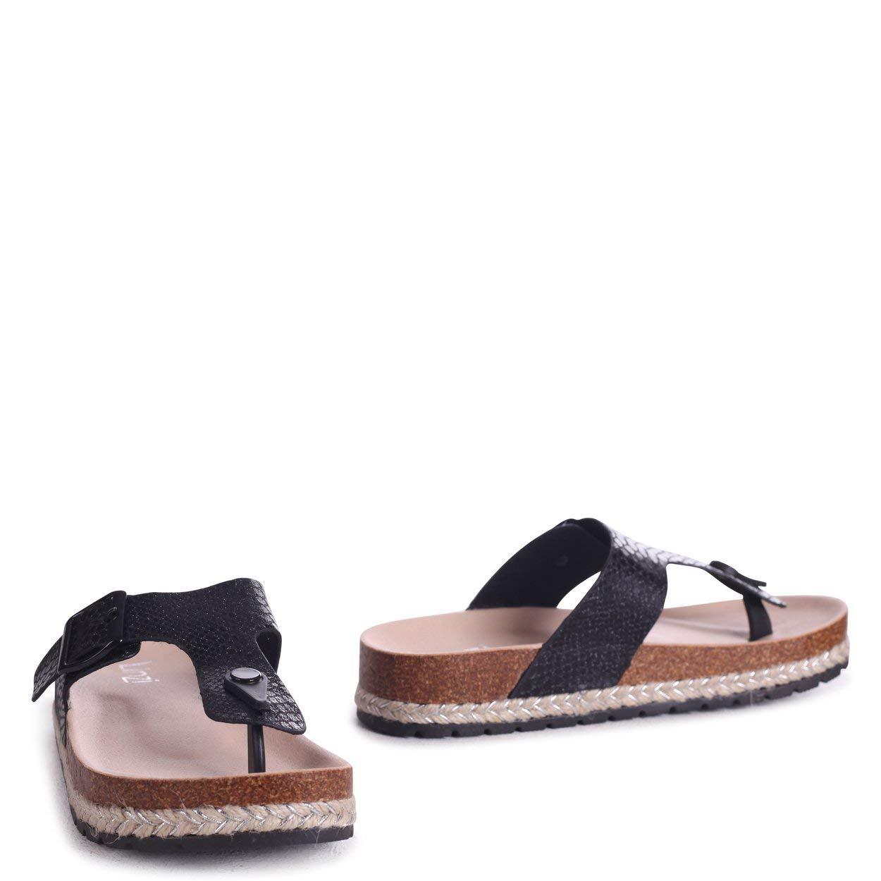 c1aead82d5b Linzi Monica - Black Snake Toe Post Flatform Sandal  Amazon.co.uk  Shoes    Bags