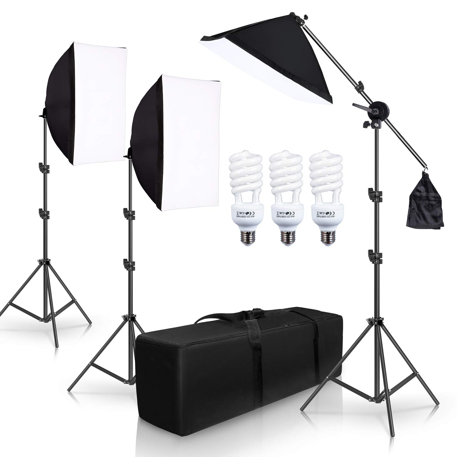 SH Photography Photo Studio Lighting Kit Set Softbox Setup with Light Stand Square Cube Softbox Cantilever Bag softbox with 3 PCS 5500K Daylight Bulbs by SH