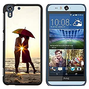 Stuss Case / Funda Carcasa protectora - Puesta de sol Paraguas amantes del corazón del amor del beso - HTC Desire Eye ( M910x )
